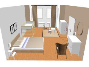 dětský pokoj a ložnice v jednom
