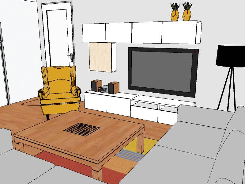 vizualizace obývací pokoj
