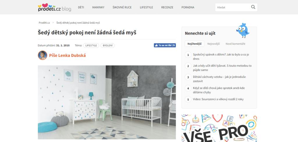 šedý dětský pokoj