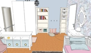vizualizace glamour dětský pokoj